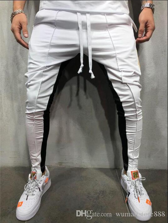 Autumn New Men High Street Sweatpants Calças Masculino Stripe Side Hip Hop Sweatpants Jogger Calças Streetwear M-3XL