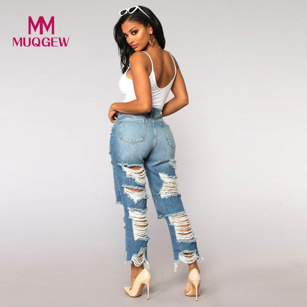 Women High Waisted Skinny Hole skinny jeans women denim pants holes destroyed Stretch Slim Pants Calf Length Jeans#G8