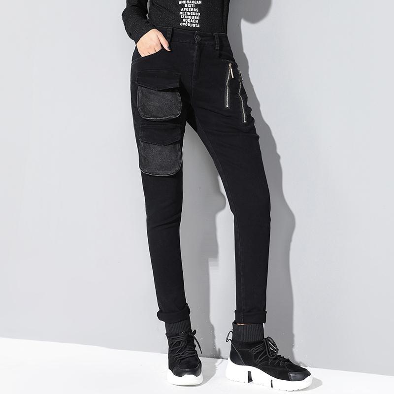 Jeans per le donne Nero Fashion Zippers Jeans Tasche di alta qualità Donna Stretch Denim Harem in denim lavato femmina WJ87