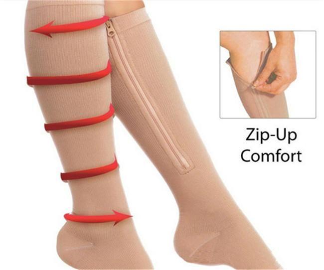 Top Quality Zip Zip -Up Sox cerniera Compression Socks ginocchio Supporta Calze Leg Open Toe Hot Leg Shaper dello Shaper 50pairs = 100pcs