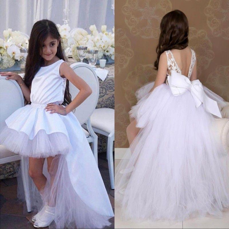 Reizende weiße High Low Blumen-Mädchen-Kleider für Hochzeit für Prinzessin Jewel Neck Tutu Short Kind-Kleinkind-Festzug-Kleid-Abschlussball-Partei-Geburtstag