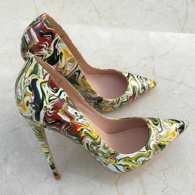 100% ladies pumps high heel pumps shallow pointed toe woman shoes party shoes slip-on rainbow women wedding