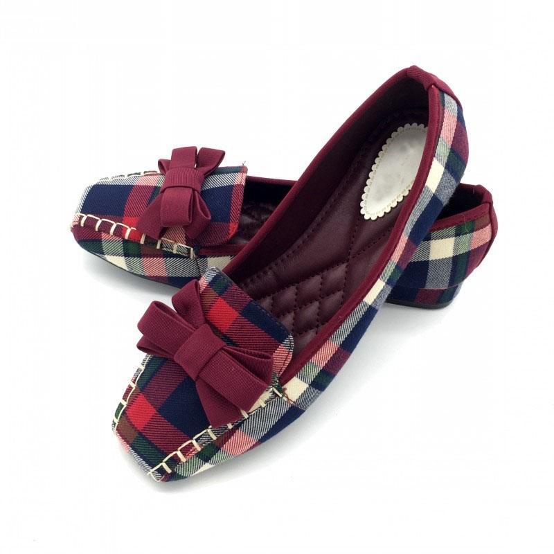 Inghilterra Stile Gingham casuale delle donne fannulloni Piazza Primavera Autunno Toe Bowtie Slip On Shoes Appartamenti In Donna Single Ladies Formato più