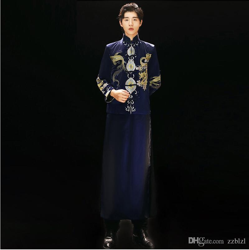 ropa de la boda del estilo chino del vestido de novia bordado azul noche antiguas de los hombres de China a largo vestido de traje traje Tang Xiuhe tostar Robe