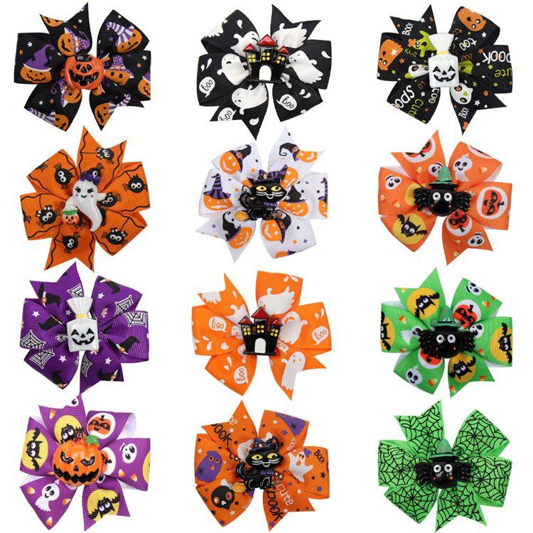 Halloween hairpin 12 styles Grosgrain Ribbon Bows WITH Clip Kids Ghost Pumpkin Girl hair clips hair accessories barrette JY719