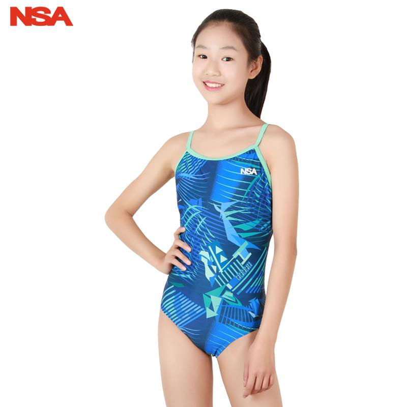NSA NEW Children's Professional Swimming Suit For Girl Competition Swimsuit Girls One Piece Competitive Swimwear Kids swimsuit