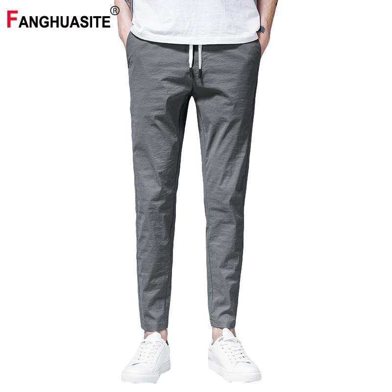 Matita pantaloni Lunghezza pantaloni elasticità traspirante elastico in vita degli uomini pieni di rinfrescante Estate Nuovo colore solido casuale degli uomini K936