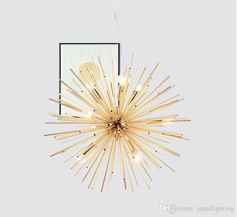 Post-modern Gold Pendant Lights Living Room Restaurant Study led radiation sphere art Personality design pendant lamp