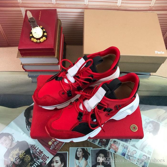 avec la boîte de Spike Krystal Sock Donna Donna Flat Runner Rivet Red Bottom Chaussures Casual Glitter Sunset sneakers New Loubi Run taille Sneakers 35-46