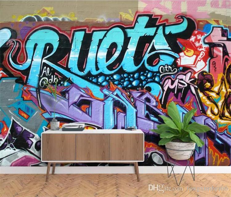 Acheter Personnalisé Peinture Murale Rétro Art De Mode Graffiti Alphabet Brique Mur Papier Peint Décor à La Maison Pour Le Salon Photo Papier Peint