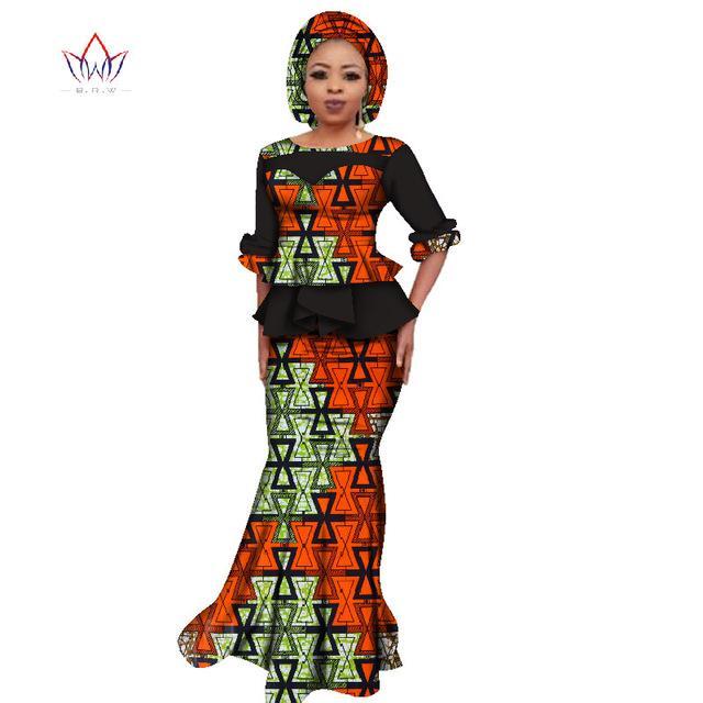 2019 летние африканские дашики для женщин o-образным вырезом юбка набор природных Базин Рич африканская модная одежда хлопок плюс размер BRW WY2394