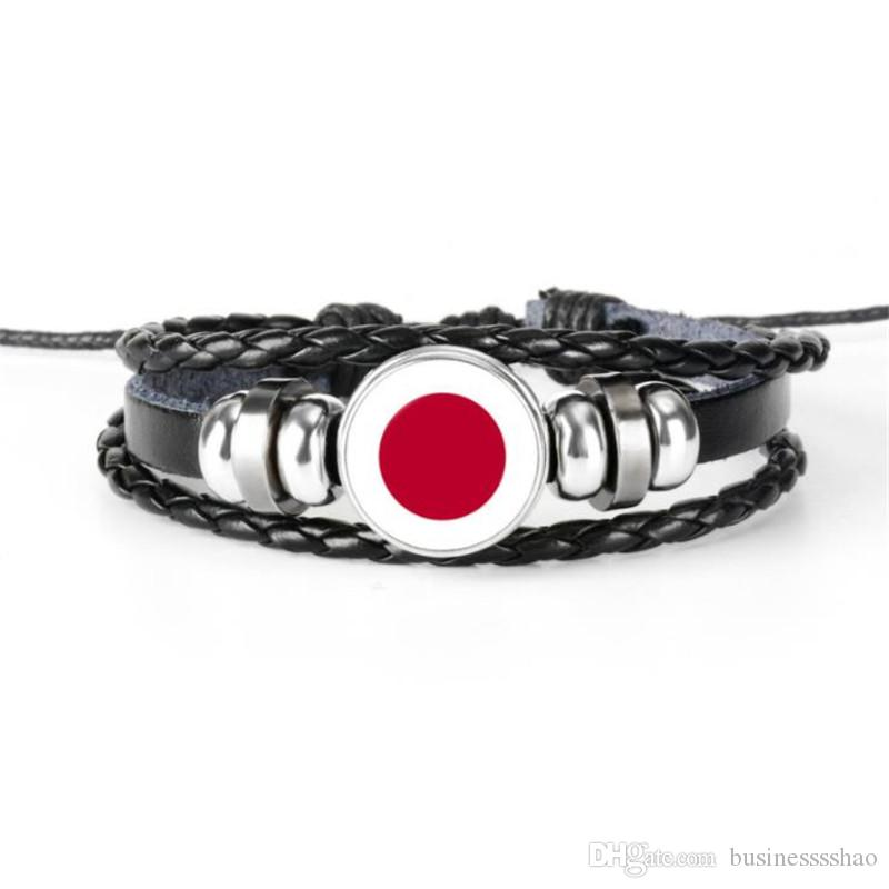 Glass Cabochon Japan National Flag World Cup Football Fan Charm Bracelets Fashion Genuine Leather Rope Beaded Womens Mens Jewelry Wholesales