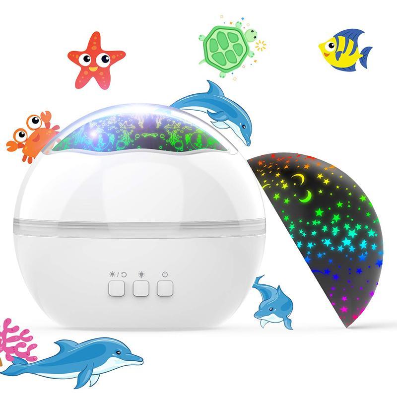 New Ocean Undersea Sternenhimmel Projektor Laserlicht 360 ° Rotating Nachtlicht 8 Farben Baby Schlafzimmer Geschenk