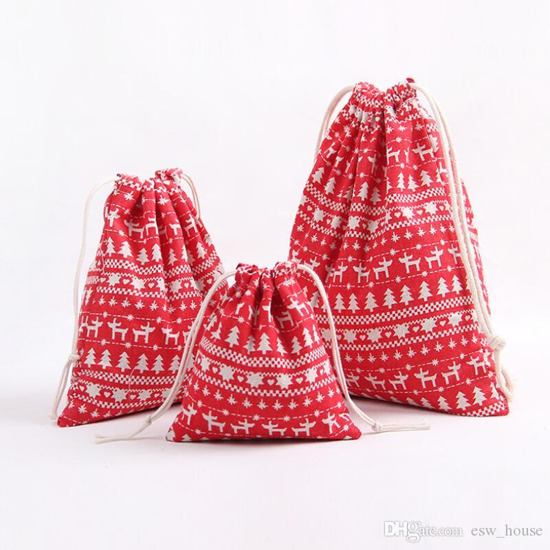크리스마스 리넨 졸라 매는 끈 번들 가방 크리스마스 선물 보관 가방 코튼 리넨 캔디 차 포장 선물 포장