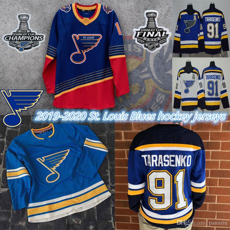 2019 Stanley Cup Champions Jersey St. Louis Blues 50 Binnington Schwartz 90 Ryan O Reilly Colton Paraayko Schenn 91 Vladimir Hóquei Jerseys