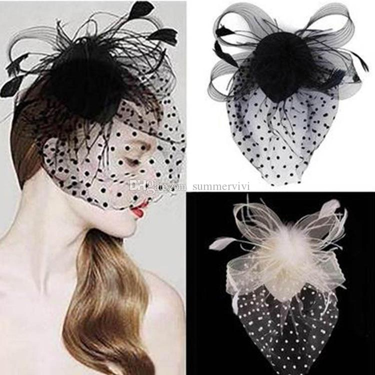 Children pageant hair clip bridal feather lace gauze cover face hairpins girls polka dots lace Bows beret princess hair accessories F3742