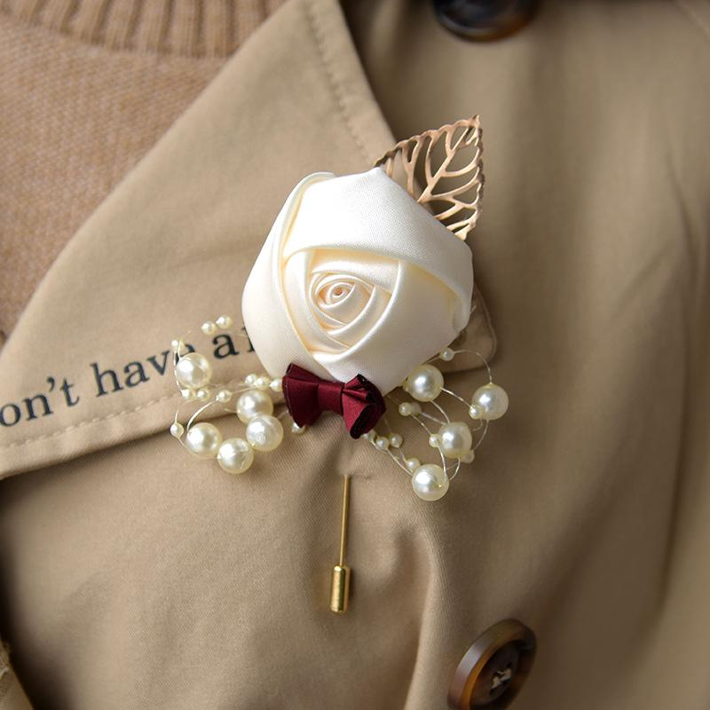 Wedding Bridal Wrist Corsage with Pearl Accessories Bridesmaid Girls Bracelet Man Boutonniere Groom Party Brooch Decoration