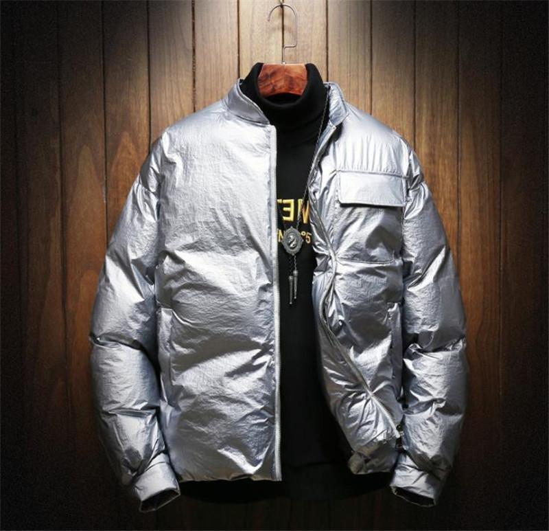 Kış Erkek Tasarımcı Katı Aşağı Casual Erkekler Yaka Dış Giyim Erkek Kalın Uzun Kollu Gevşek Coats Standı