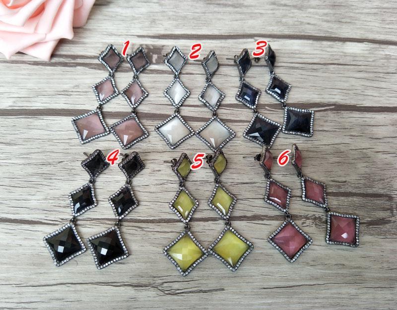Losango em forma de opala brincos cz zircão de cristal de pedra micro pave dangle moda brincos de jóias para as mulheres er314