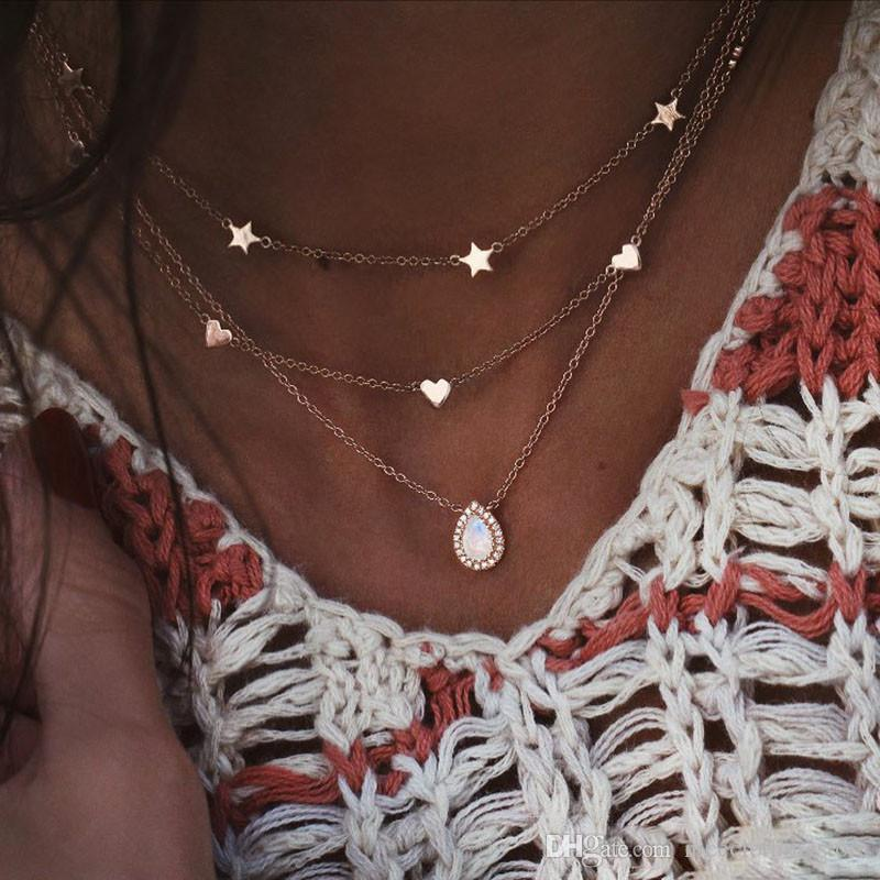 Fashion Multilayer Necklace and Ladies Star Heart Teardrop Pendant Girl Gold Necklace Long Necklaces 2020 BOHO shiny Charm Jewelry