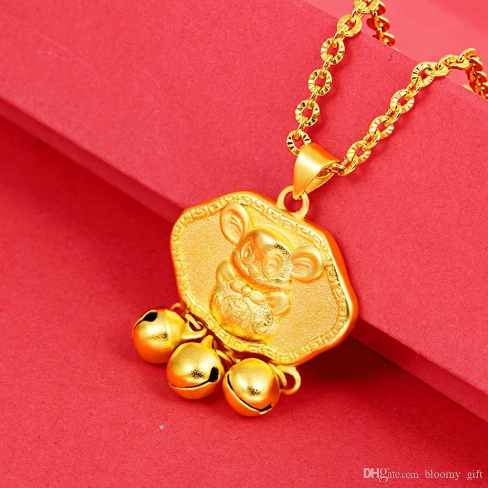 Catena bella poco pendente d'oro Rat oro giallo 18K ha riempito Carino ragazze dei bambini dei ragazzi del regalo Collana