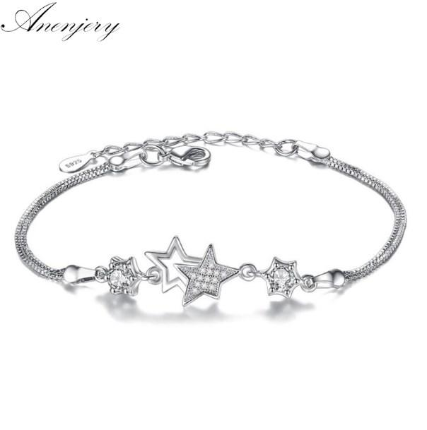 Anenjery Hot Fashion 925 bracelets en argent sterling Bangles Zircon Crystal Star Peach Blossom Fleur pulseira feminina S-B30