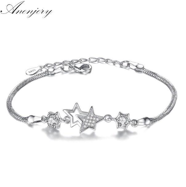Anenjery caliente de la manera 925 pulseras de plata de la flor de los brazaletes circón estrella de cristal de la flor del melocotón pulseira feminina S-B30