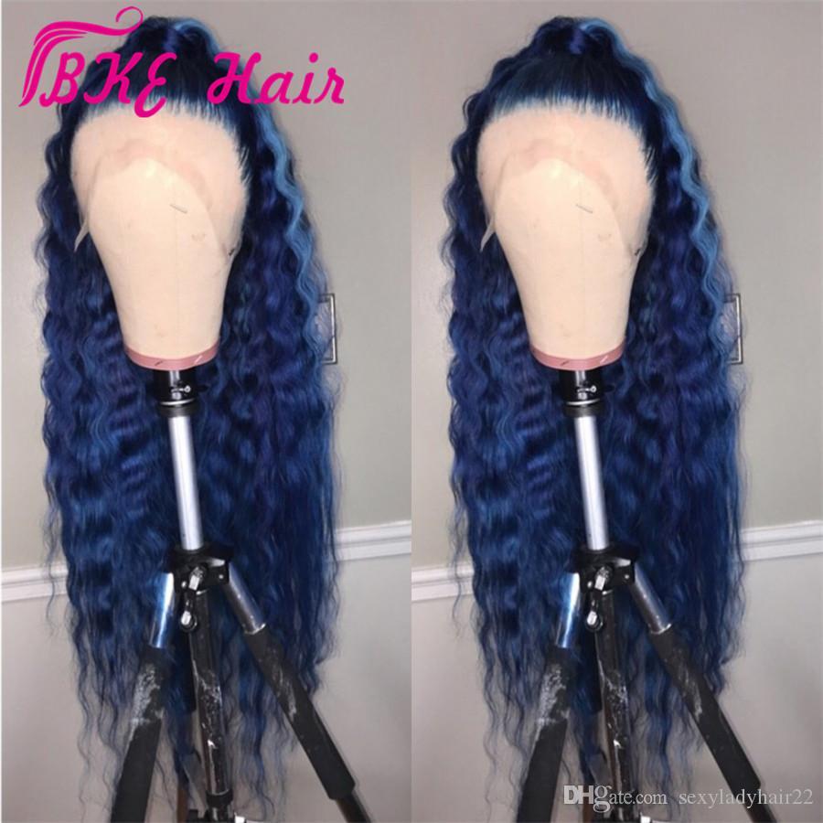 Hotselling 360 pizzo frontale parrucca lunga onda d'acqua colore blu scuro Parrucca anteriore in pizzo sintetico con pre parrucche per capelli per bambini