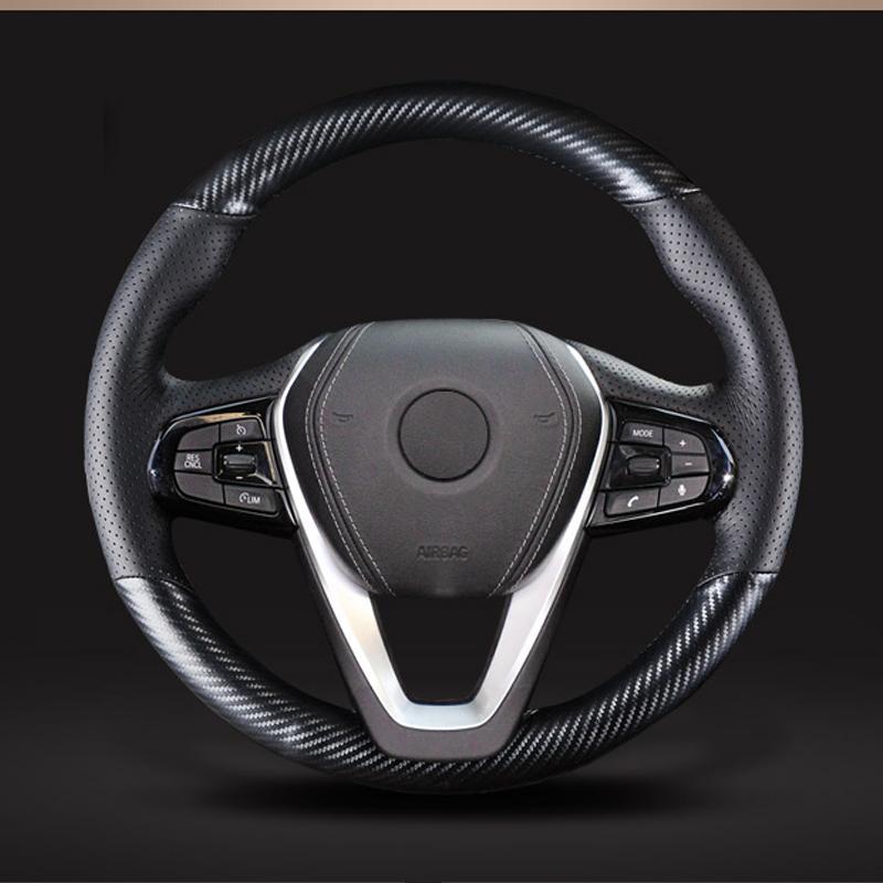 Karbon fiber siyah süet araba direksiyon kılıfı için G30 530i 540i 520d 530e 2016-2018 G32 GT 630i 630d 2017-2018