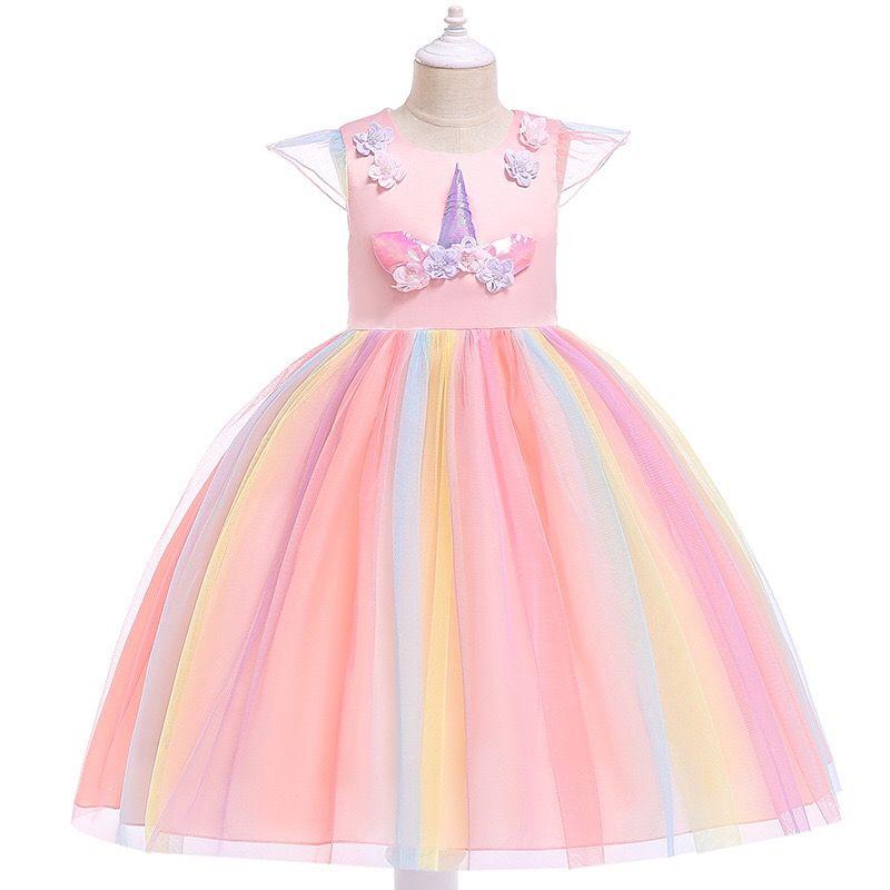 جديد مصمم أزياء الاطفال ملابس بنات فساتين يونيكورن الأميرة اللباس الأزهار أطفال فساتين قوس قزح فساتين رسمية طويلة