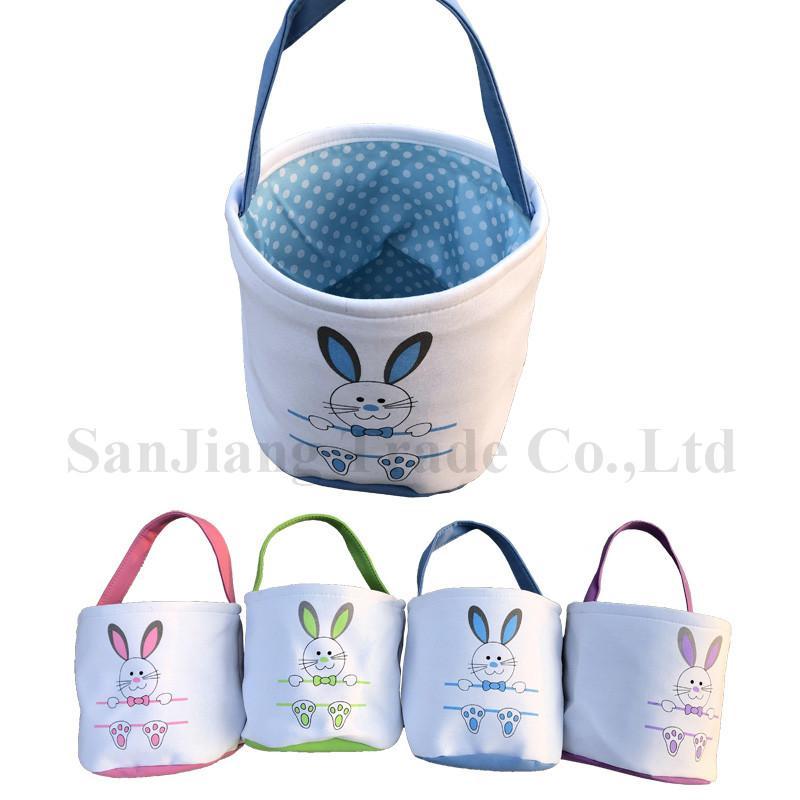 Дети Пасхального зайца Корзина Rabbit Foot печать Лоскутного Цвет корзина Яйцо Охота сумка Холст Easter Ковш Сумка Детские конфеты Яйцо Тотализаторы A122105
