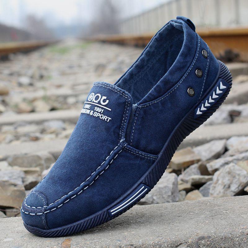 Calçados masculinos New lona Desodorante respirável maré Loafers antiderrapante Masculino Estudantes Laço salto baixo Casual Shoes