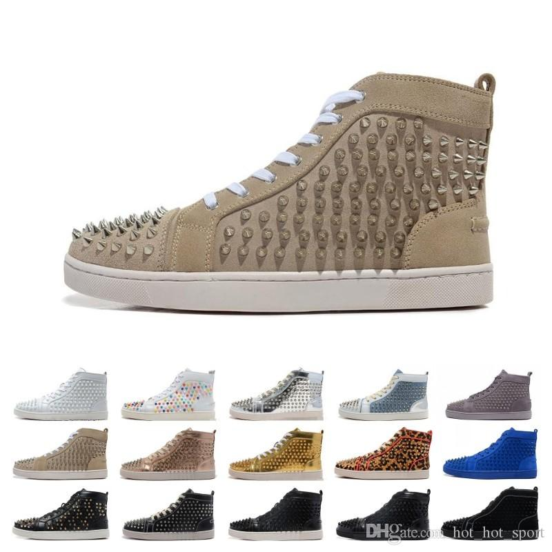 Cheaper Designer Brand Studded Spikes Flats shoes mens sandals Red Bottom Shoes For Men Women Party Lovers Genuine Leather Sneakers