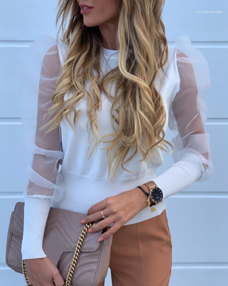 İçi boş Çıkan Kadınlar Tasarımcı Gömlek Kadın tül Giyim Yeni Geliş Moda Bahar Puff Kol Bayan Bluzlar