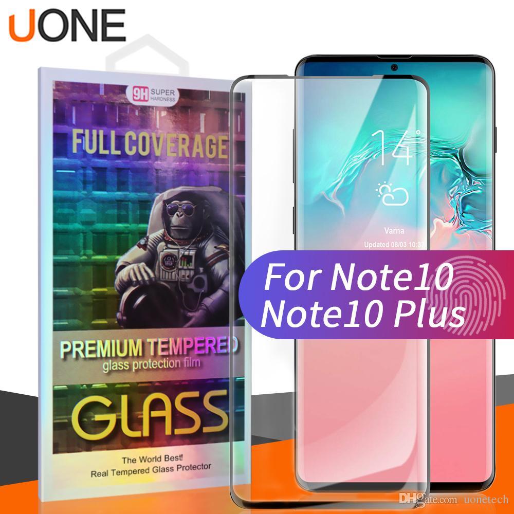 3D Eğri Kenar Ekran Koruyucu Samsung Not 10/20 / Ultra S21 / S21ULTRA / S21PLUS / S200 Artı / S10 / S9 / S8 Artı Temperli Cam Stokta Case Friendly Parmak İzi Unclock