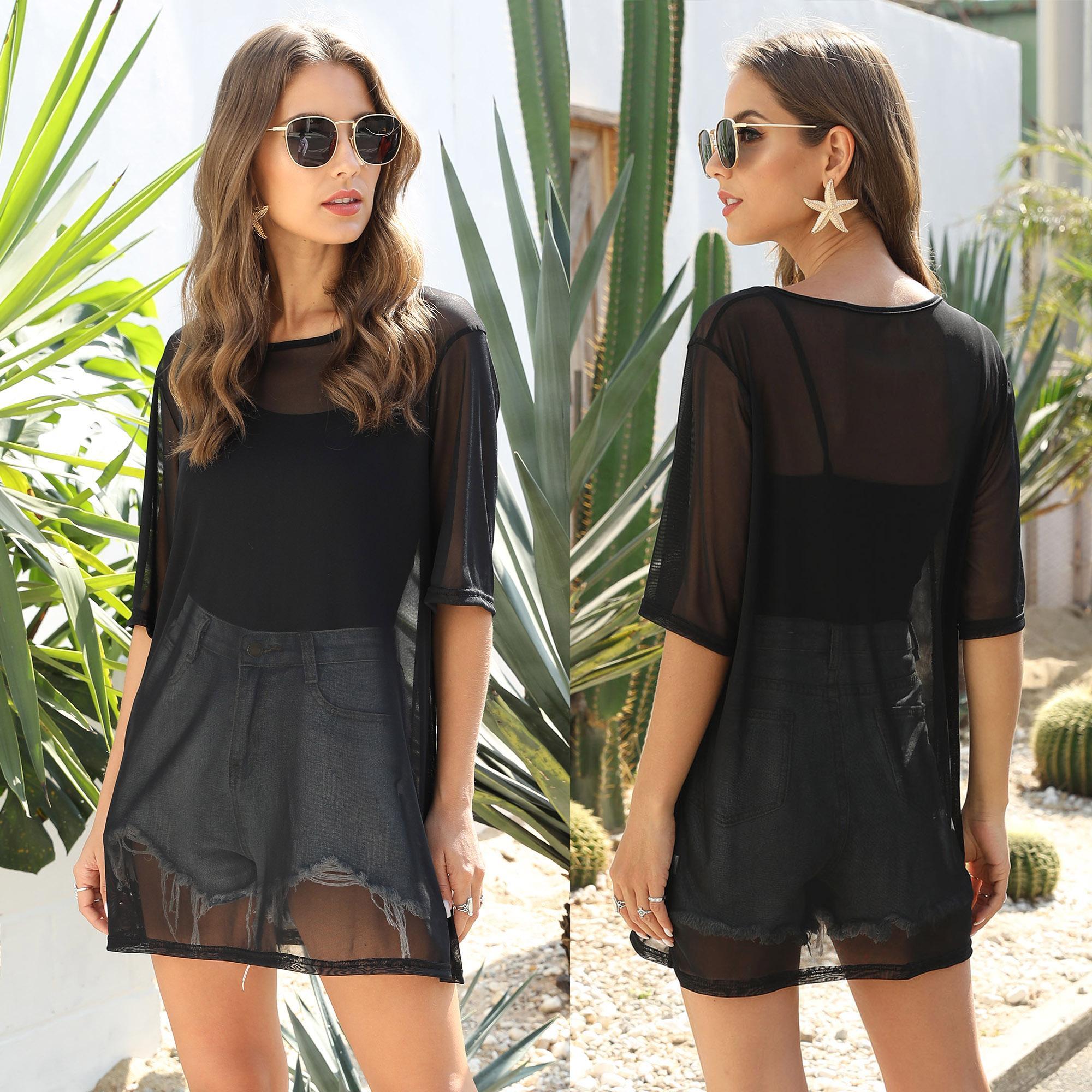 Ladies Short Sleeve Mesh Short Mini T-Shirt Dress Ladies Summer Casual Long Tops