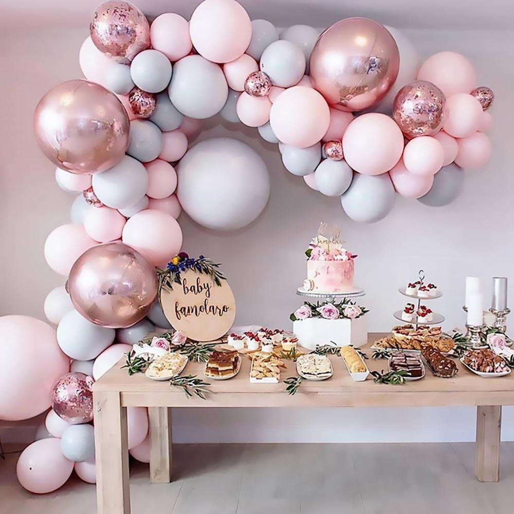 169pcs Macaron Balloons Garland Arch Rose Gold Konfetti Ballon Hochzeit Geburtstag Baloon-Geburtstags-Party-Dekor-Kind-Babyparty T200524
