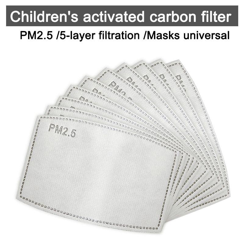 bambino usa e getta maschera filtro 5-layer PM2. 5 carbone attivo nero anti polvere maschera filtro di ricambio zerbino per tutti viso Maschere di trasporto libero