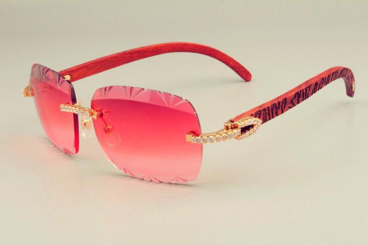 2019 الجديدة مبيعا محفورة باليد النظارات الشمسية معبد خشبي الطبيعية، وتصميم فريد الماس النظارات الشمسية 8300765 محفورة عدسة نمط