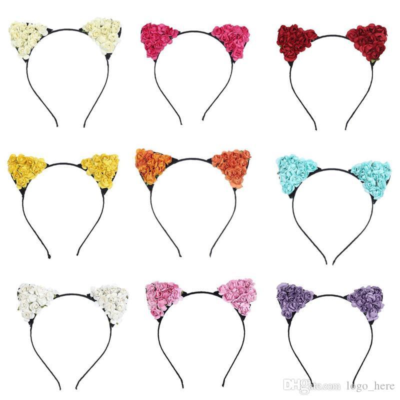Venta caliente diadema de gato hueco lindo moda niños niñas encaje encantador gato oreja diadema regalo accesorios para el cabello R0569