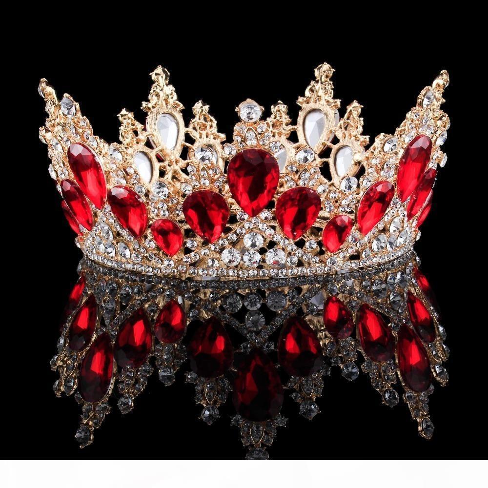 2018 Nouveau mode baroque de luxe Crystal Bridal Crown Diadèmes Light Gold Diadem Diadèmes pour les femmes mariée Mariage Accessoires de cheveux C18122501