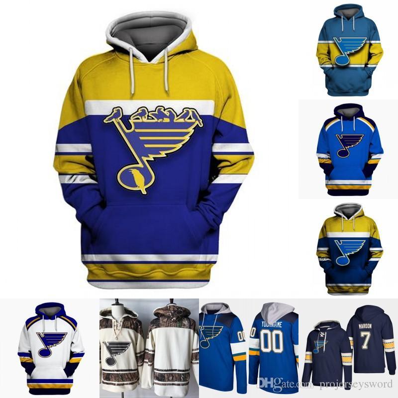 St. Louis Blues Hoodie Jersey Hommes 91 Vladimir Tarasenko 6 Joel Edmundson 21 Tyler Bozak 34 Jake Allen 90 Ryan O'Reilly Chandails de hockey