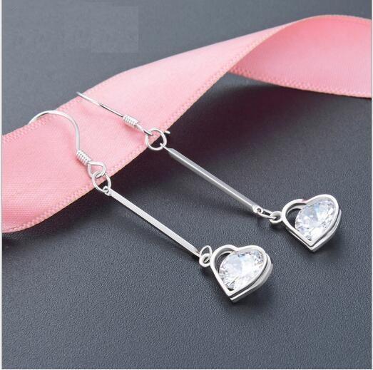 zirkon aşkın S925 gümüş küçük taze earrings373 ile toptan moda mizaç uzun küpe