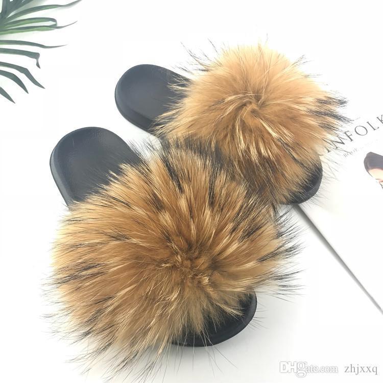 Pantofole reale della pelliccia di Fox Donne 2019 Sliders casuale Fox piano dei capelli Fluffy Moda Home Estate di grande formato 45 flip Furry Flops Scarpe