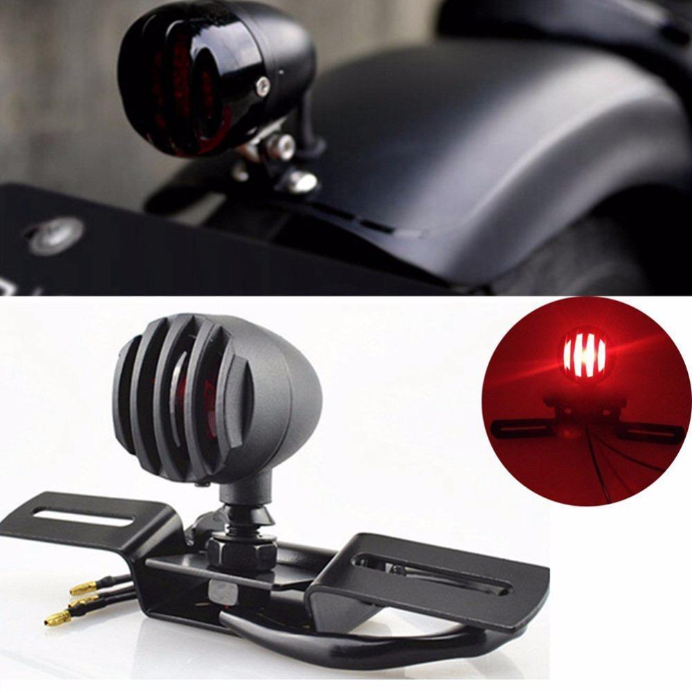 Schwarz Retro Moto hinteren Fahrtrichtungsanzeigern Kennzeichenhalter Chopper Motorrad-Bremslicht für Harley Motorrad-Rücklicht