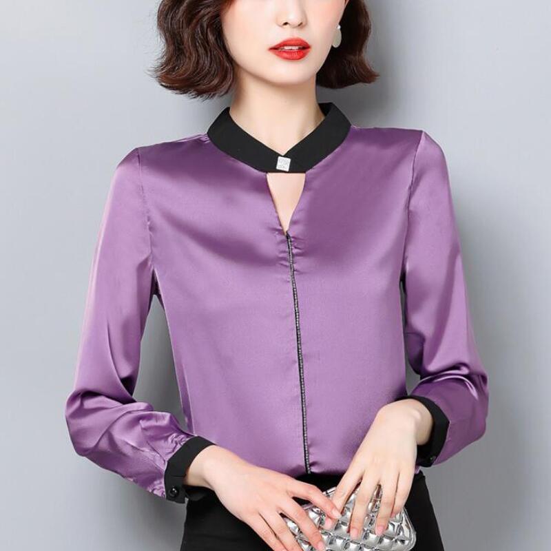 الكورية الحرير بلوزة المرأة قميص طويل الأكمام O-الرقبة نساء الماس مكتب موضة البلوزات بلوزة من الشيفون بلايز Blusas موهير