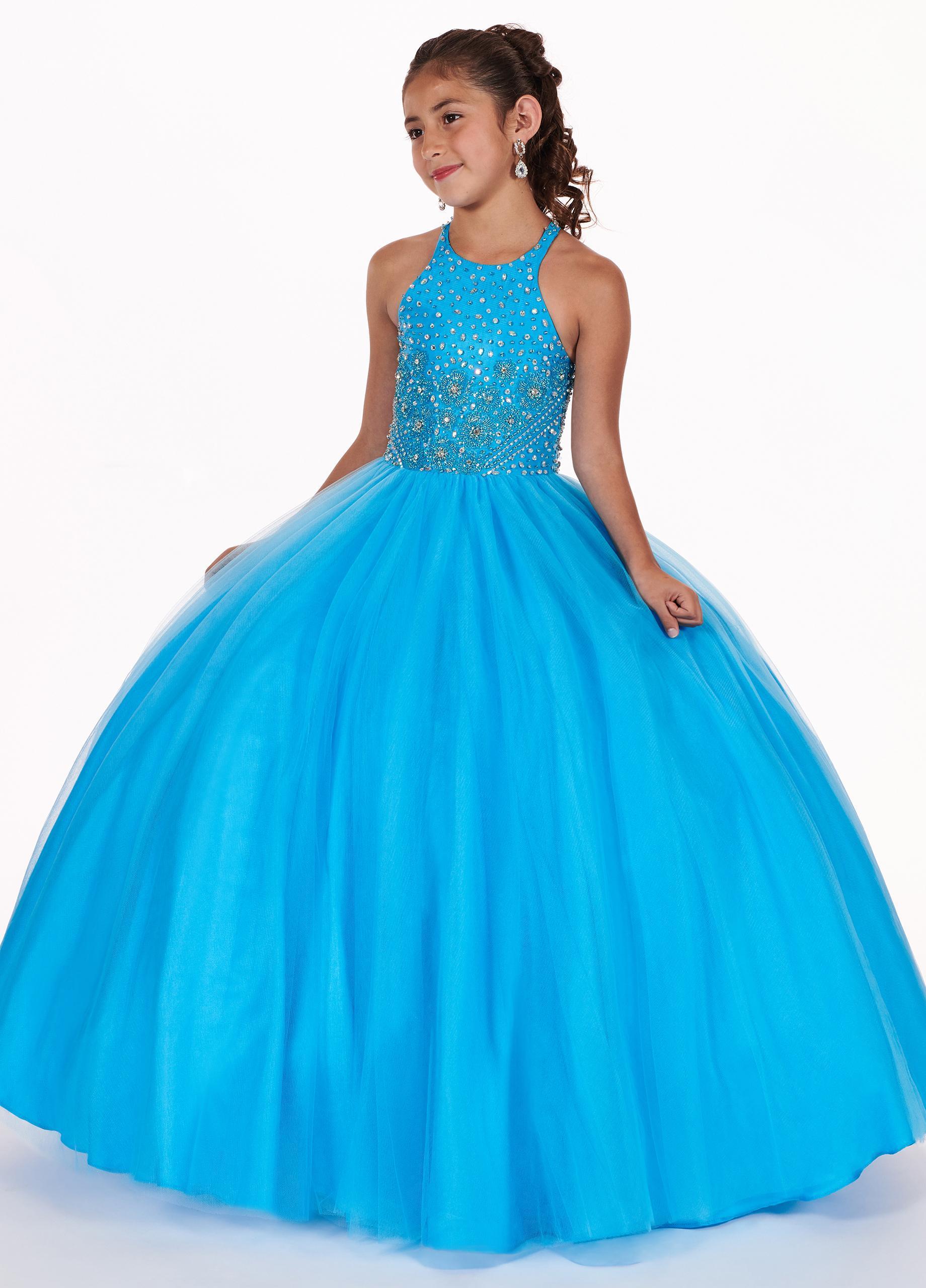 Halter Azul partido del desfile de los vestidos de las niñas cumpleaños de la danza de las lentejuelas Vestidos Crystal chica vestido de comunión formales vestidos de las muchachas de flor