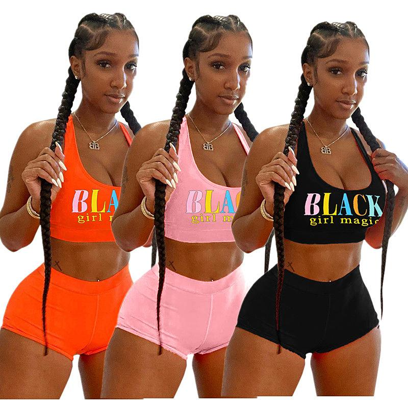 Donne Shorts Moda Tuta nero lettera senza maniche T-Shirt Top + Shorts 2 piece set Estate Donna Outfits Sportswear vestito casual migliore