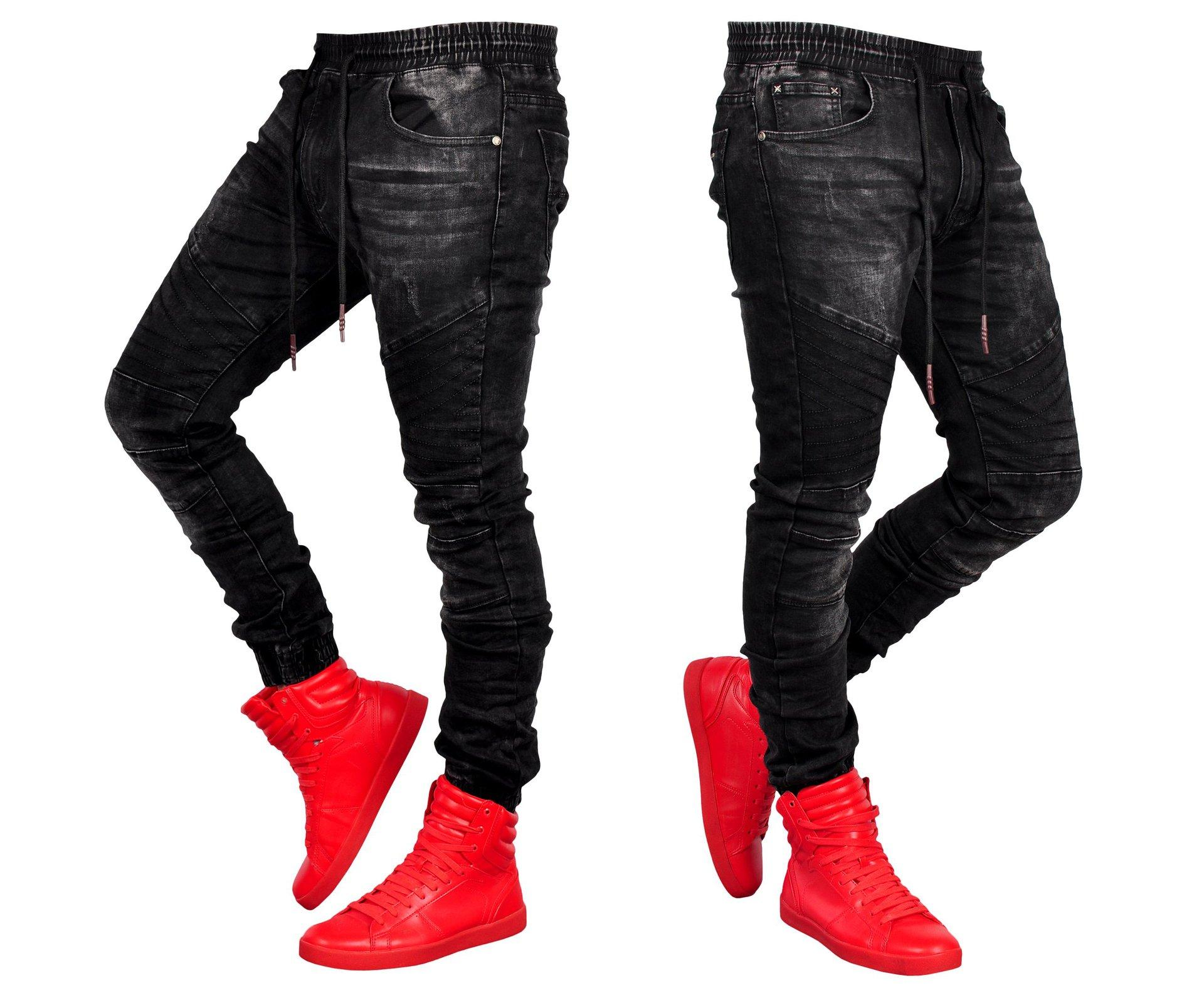 jeans for men Stylish black jeans jogger fashion elastic waist denim trousers Pencil Biker Jean Pants