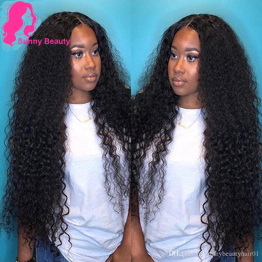 Sunny Beauty Peruvian Deep Wave 3/4 Bundles Pervian Hair Weave Bundles Peruvian Hairs Pineapple Curly Bundles Loose Deep Wave Black Color